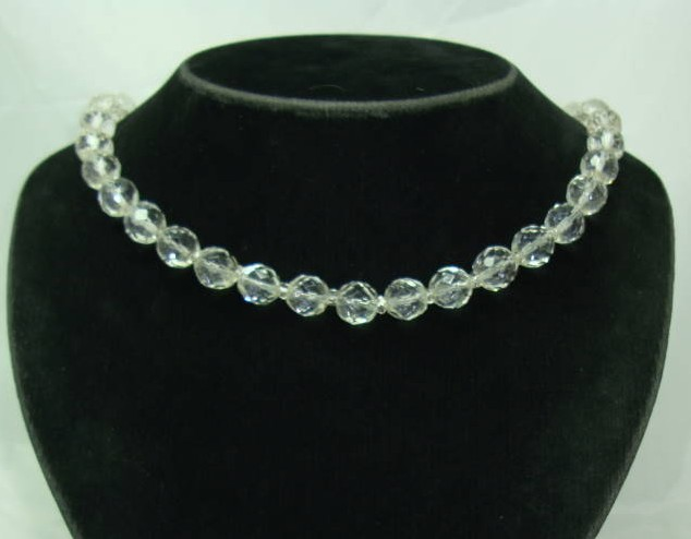Vintage 50s Sparkling Crystal Glass Bead Necklace WOW