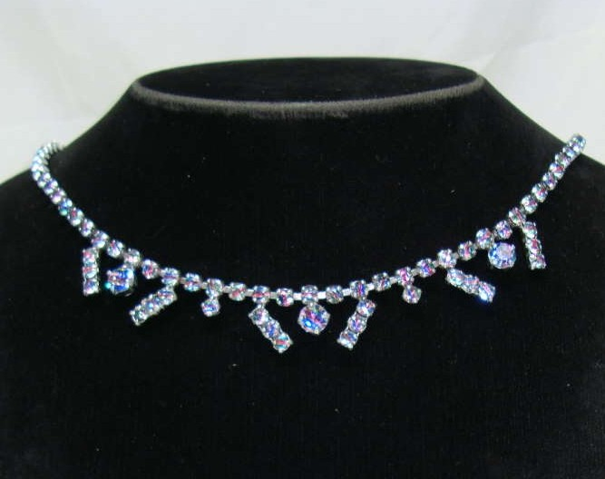 £18.40 - Vintage 1950s Sparkling AB Rhinestone Diamante Drop Necklace Pretty!