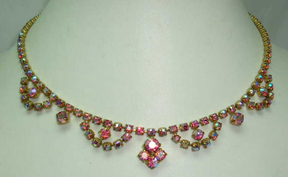 £26.40 - Vintage 50s Fab Pink AB Diamante Cascade Drop Necklace