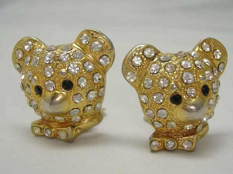 £12.00 - Vintage 80sTeddy Bear Head Diamante Clip On Earrings