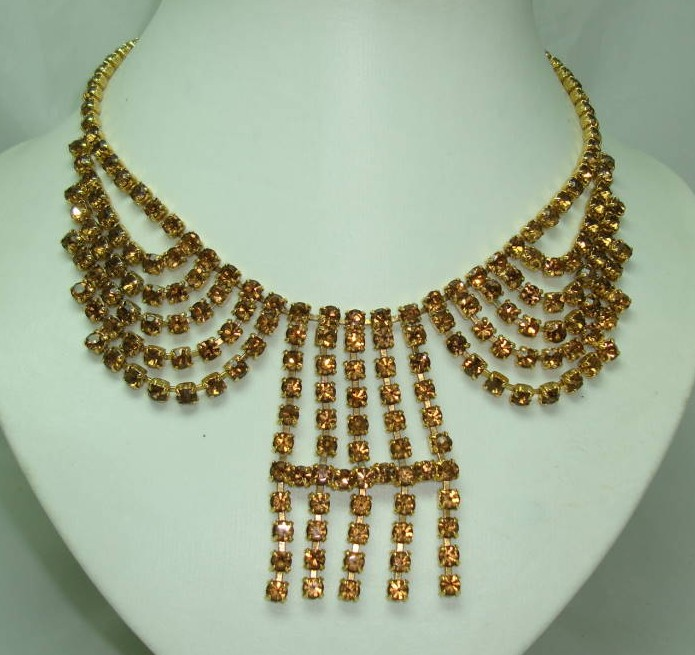 1950s Glamorous Amber Citrine Diamante Cascade Tassel Drop Necklace