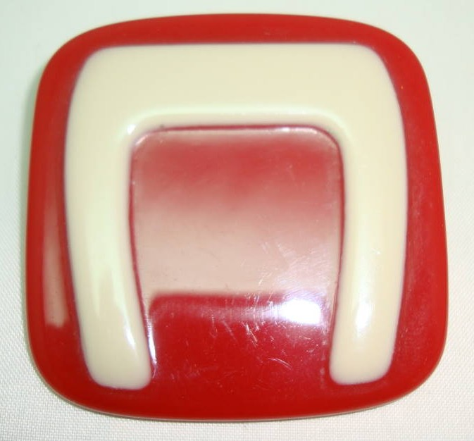 1970s Unique and Contemporary Large Red and Cream Lucite Square Brooch