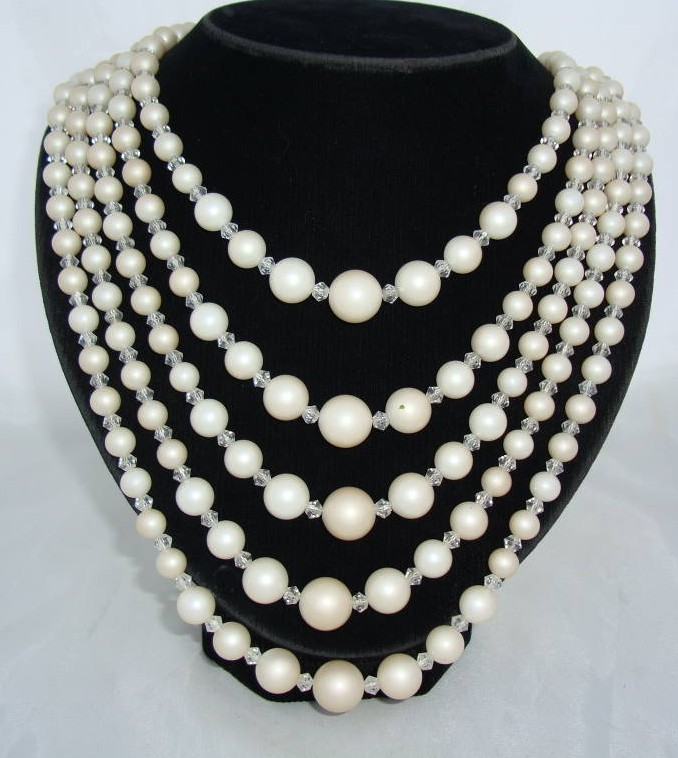 Vintage 50s Stunning Classy 5 Row White Faux Pearl Bead Necklace