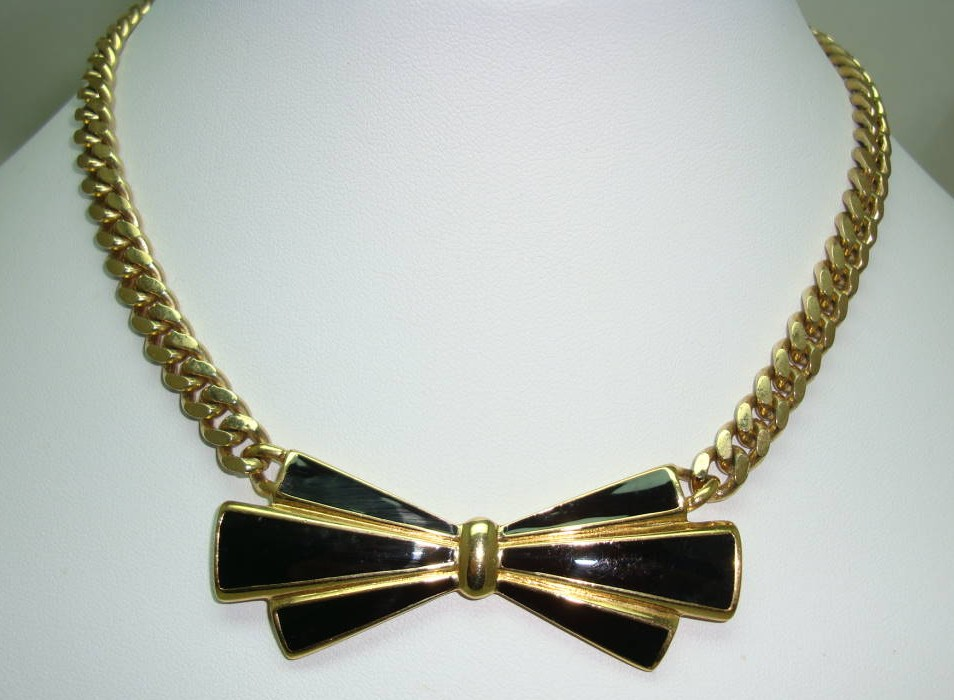 Vintage 80s Adorable Black Enamel and Gold Bow Necklace Named