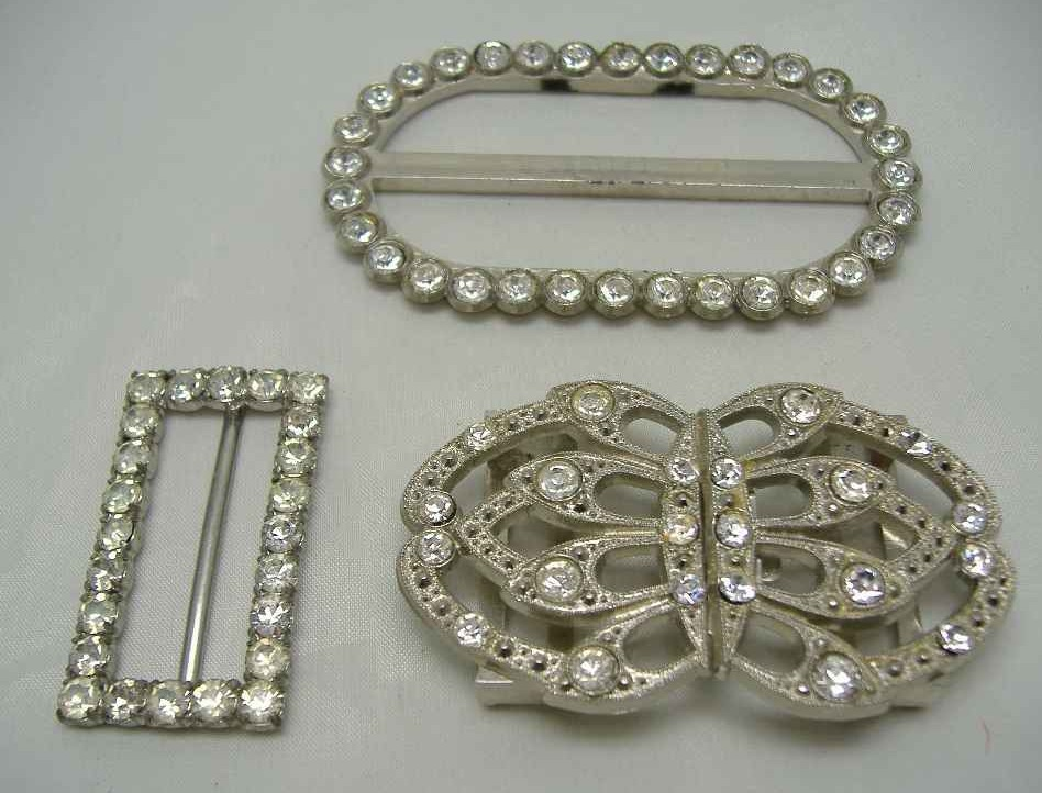 Vintage 70s Three Sparkling Diamante Silver Buckles FAB