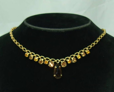Vintage 50s Amber Citrine Diamante Drop Gold Necklace