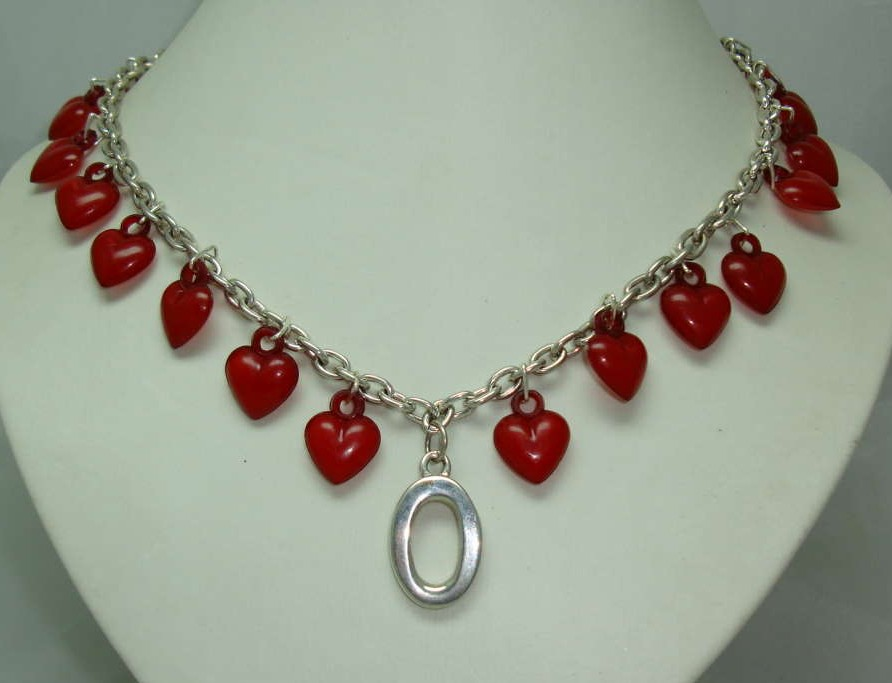 Vintage 80s Stunning Red Lucite Heart Bead Charm Silver Link Necklace