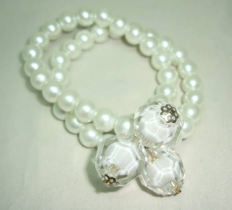 £11.20 - Fab 2 Row Glass White Faux Pearl Bead and Lucite Stretch Bracelet