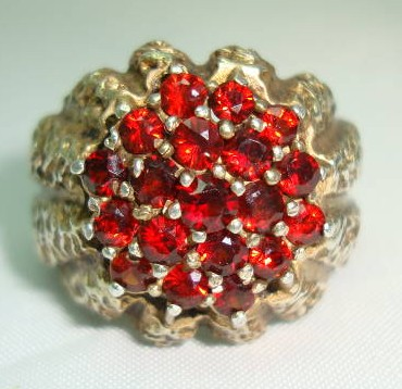 1960s Fab Sterling Silver Gilt Garnet Modernist Ring