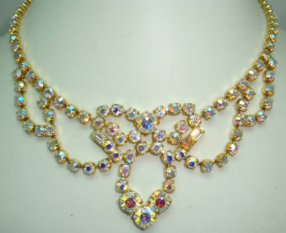 Vintage 50s Amazing AB Diamante Gold Cascade Drop Necklace