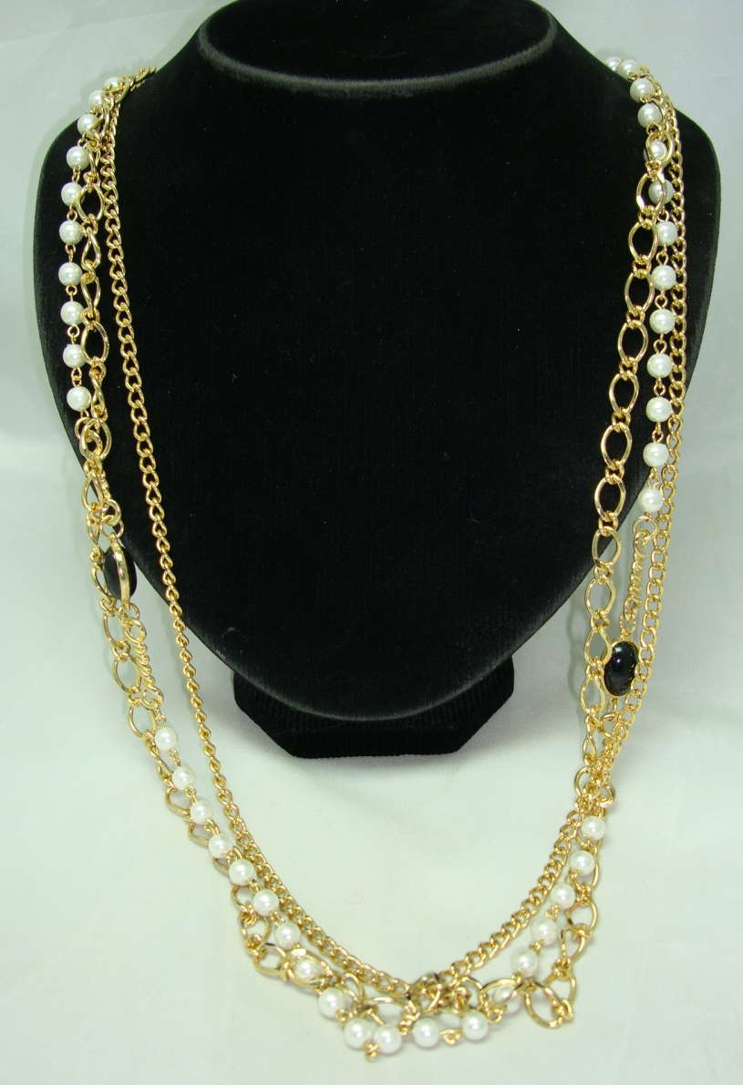 Vintage 80s 3 Row Gold Chain & Faux Pearl Bead Necklace