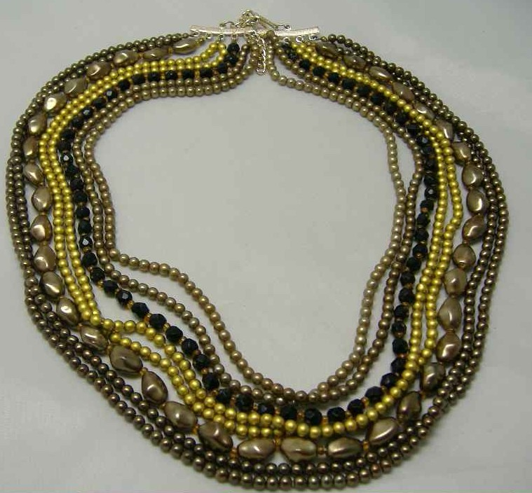 Vintage 8 Row Gold Brown Glass Faux Pearl Bead Necklace