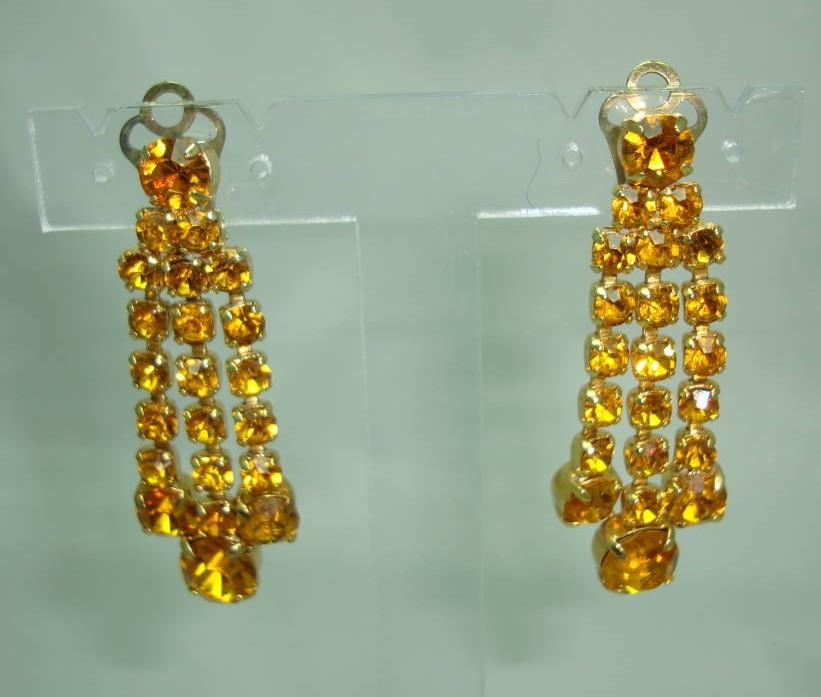 1950s Sparkling Citrine Amber Diamante Dangle Tassel Clip On Earrings