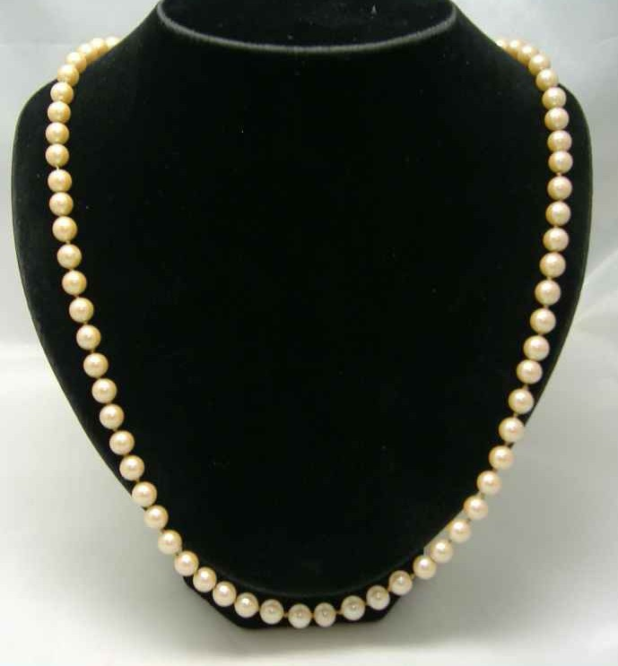 Vintage 50s Quality Glass Faux Pearl Bead Necklace WOW
