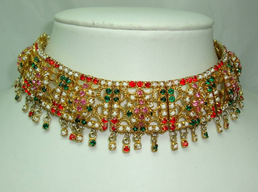 Fabulous Wide Multicoloured Diamante Eastern Choker Gold Necklace Wow!