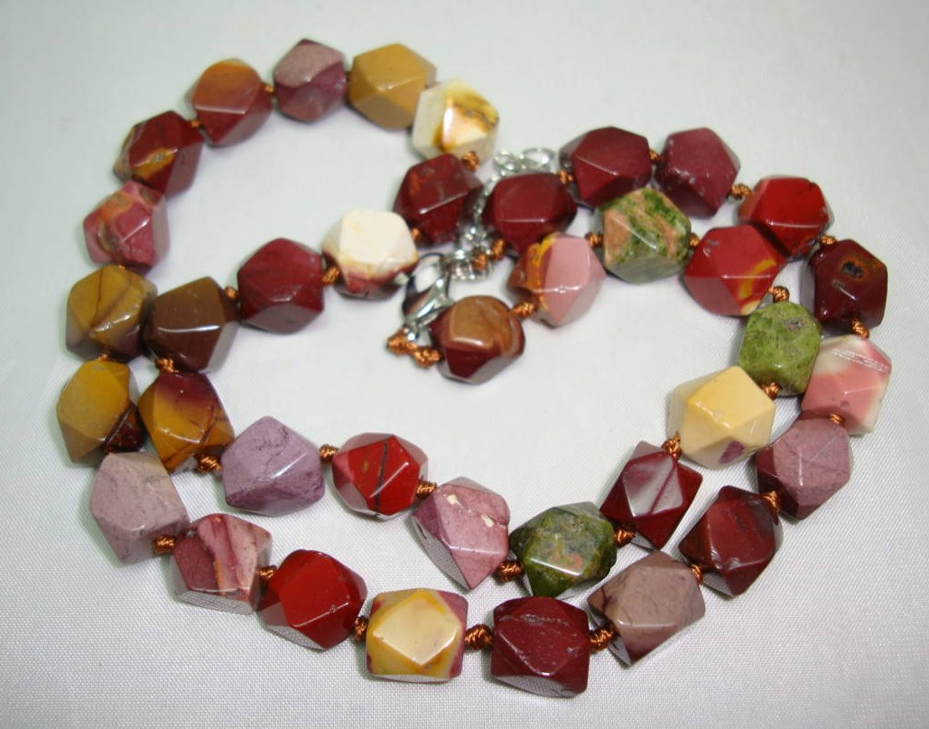 Beautiful Colourful Natural Agate Faceted Bead Hand Knotted Necklace