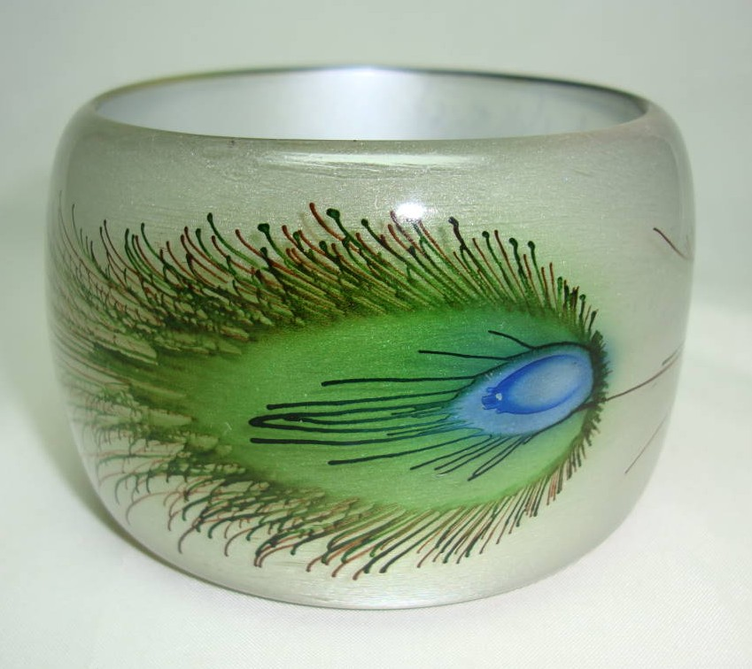 Wide Peacock Feather Print Lucite Cuff Bangle Statement Piece!