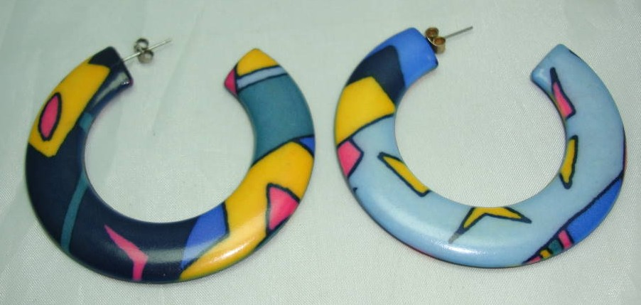 £9.60 - Vintage 80s Abstract Design Multicoloured Hoop Earrings