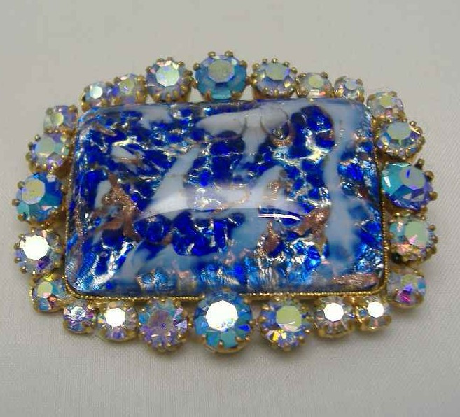 £21.60 - 1950s BIG AB Diamante & Blue Gold Flecked Glass Brooch
