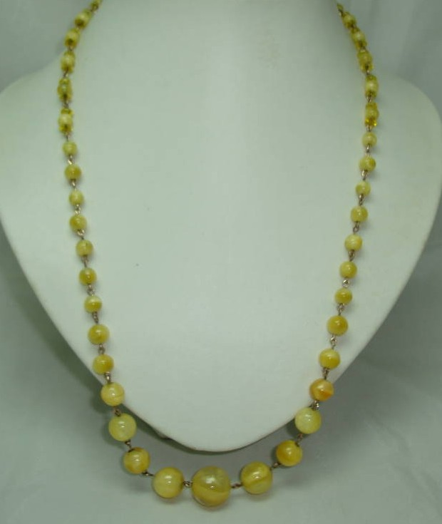 Vintage Art Deco Rolled Gold Link Yellow Star Glass Bead Necklace WOW