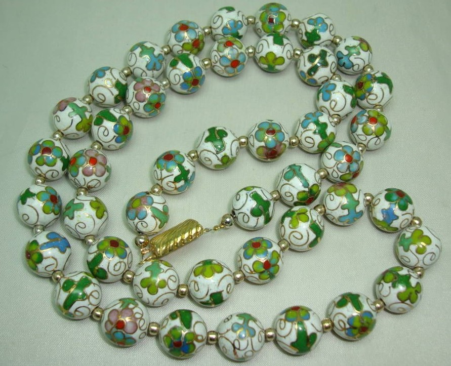 White Green Blue & Gold Cloisonne Flower Bead Necklace
