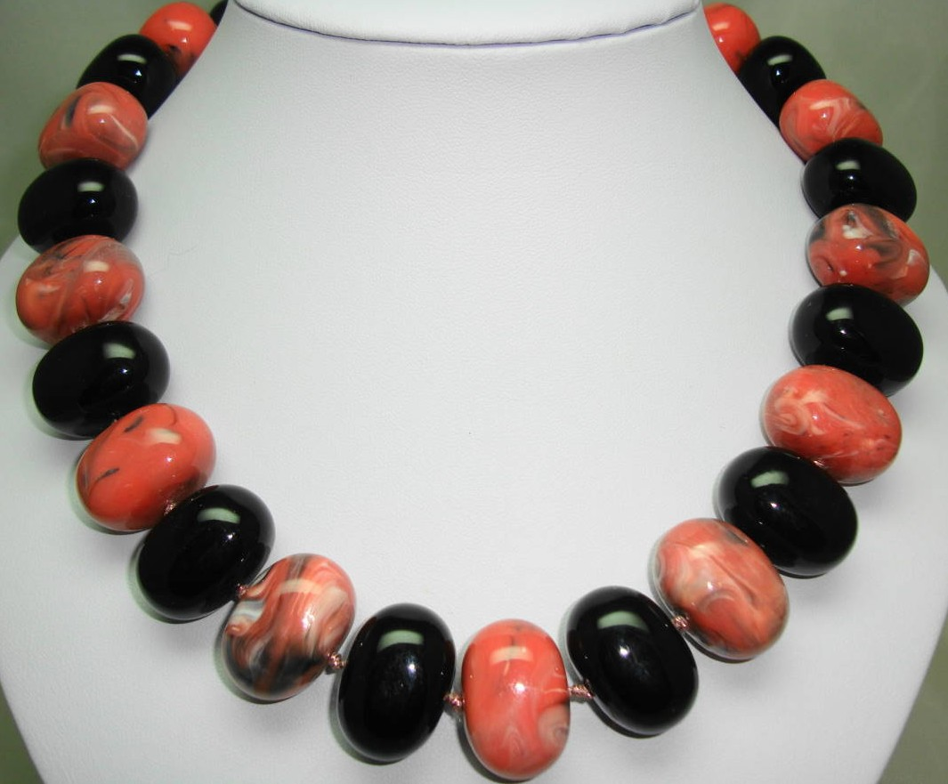 Unique Black and Salmon Pink Marble Effect Chunky Lucite Bead Necklace