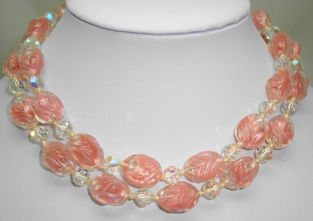 1930s 2 Row Pink and Clear Swirl Art Glass AB Crystal Bead Necklace