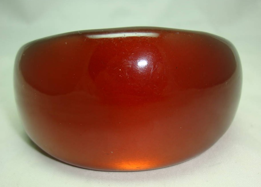 Fabulous Chunky Amber Brown Moonglow  Acrylic Lucite Wide Bangle