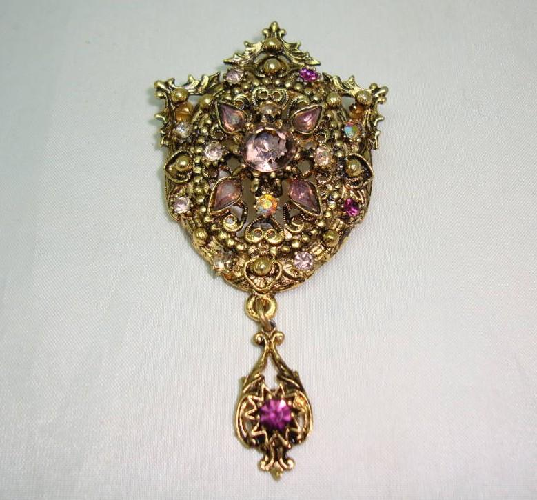 Vintage 50s Elaborate Purple Diamante Gold Drop Brooch