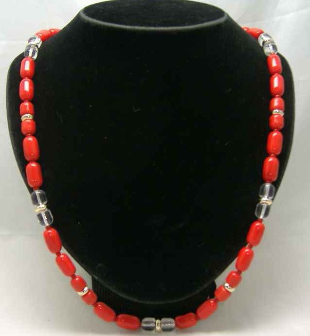 £12.00 - Vintage 50s Long Red Czech Glass Bead Necklace WOW