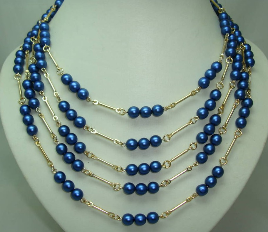 1950s 5 Row Blue Glass Pearl Bead Gold Link Necklace