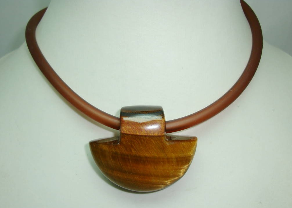 Unique Contemporary Chunky Tigers Eye Pendant Collar Necklace