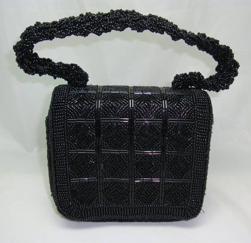 1950s Style Pretty Black Evening Box Style Handbag WOW!