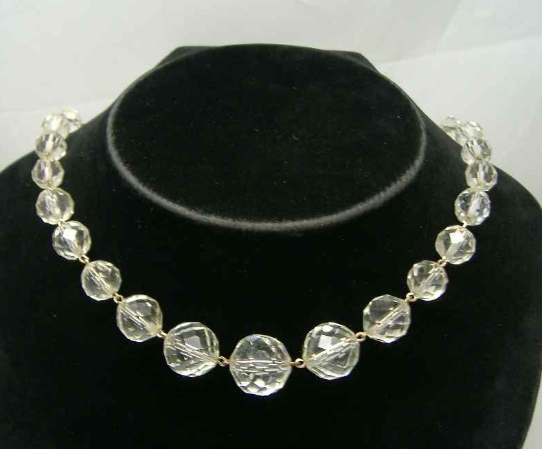 Art Deco Gold Wire Crystal Glass Bead Choker Necklace
