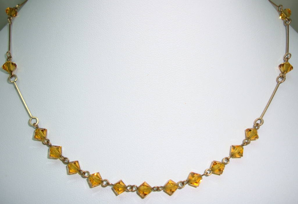 £14.40 - 1930s Delicate Rolled Gold Link Amber Crystal Glass Bead Necklace