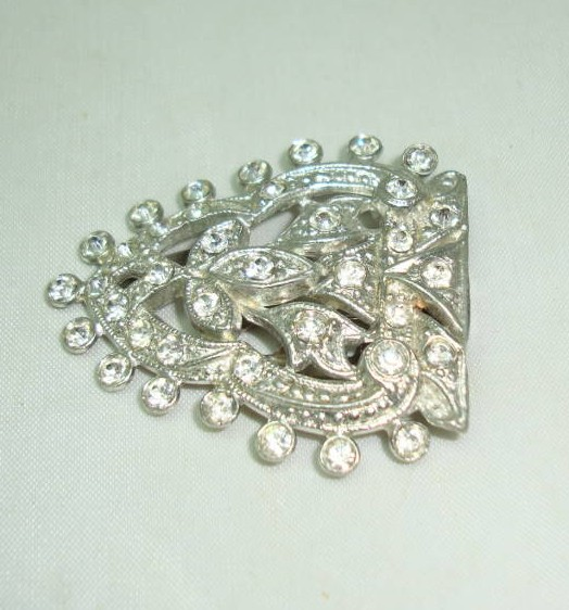 Vintage 20s Art Deco Sparkling Large Paste Diamante Dress Clip Fab!