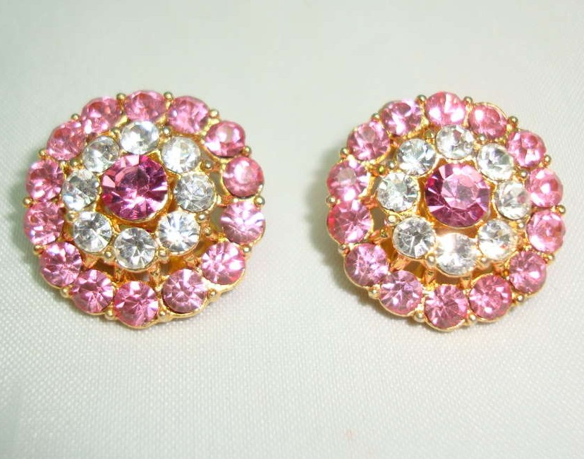 £12.00 - Vintage 50s Fab Pink Diamante Flower Clip On Earrings