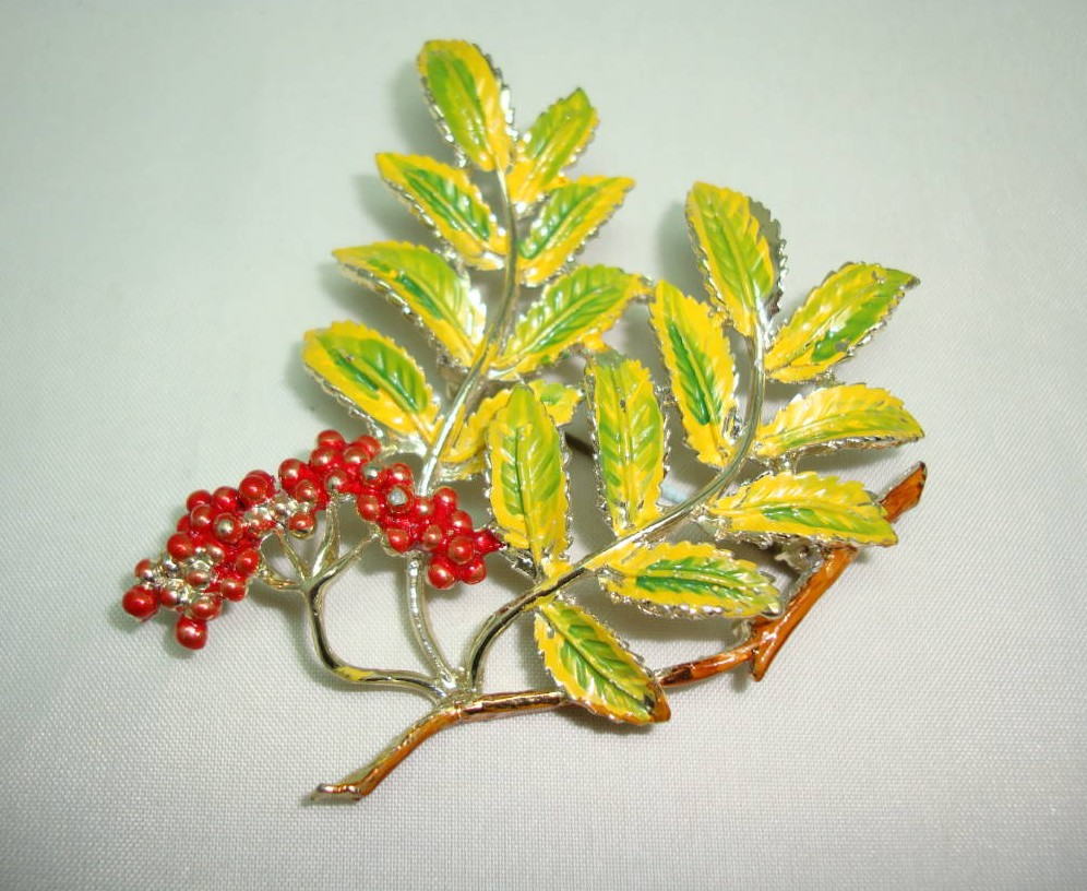 1960s Signed Exquisite Leaf Series Mountain Ash Leaf and Berry Brooch