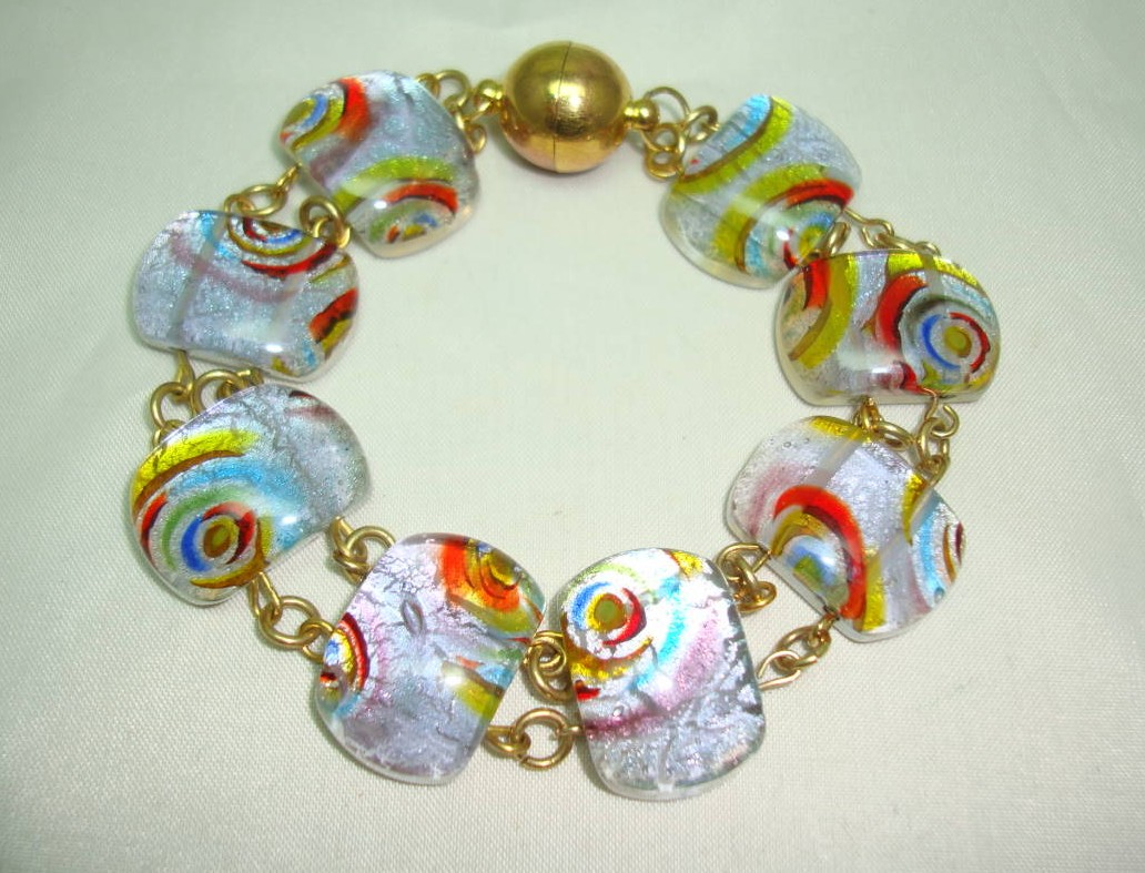 £30.40 - Quality Colourful Murano Foil Glass Bead Bracelet Magnetic Clasp Fab!
