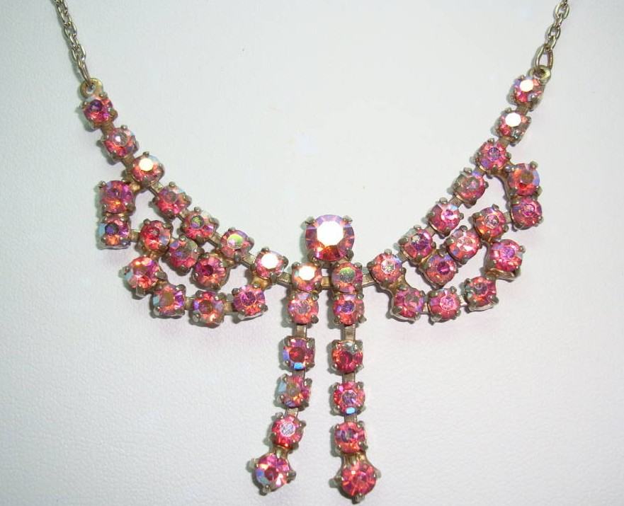 Vintage 50s Charming Pink AB Diamante Rhinestone Bow Drop Necklace
