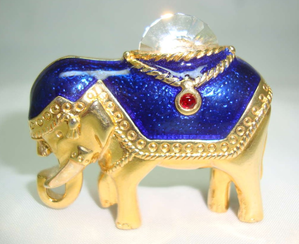 Vintage 80s Blue Enamel & Crystal Gold Elephant Brooch