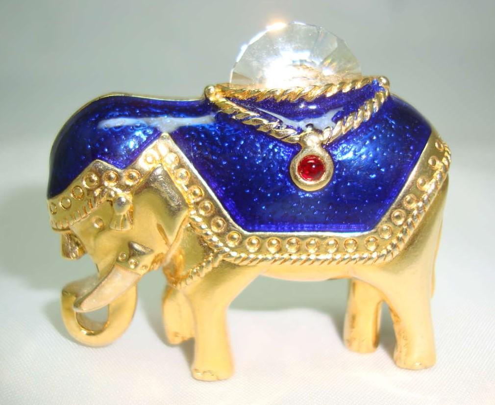 £18.00 - Vintage 80s Blue Enamel & Crystal Gold Elephant Brooch