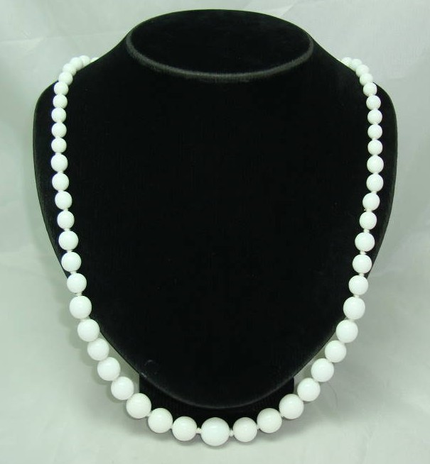 1950s Long White Glass Hand Knotted Bead Necklace WOW