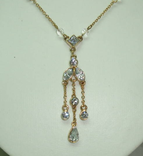 Pretty Crystal and Diamante Edwardian Style Tassel Drop Gold Necklace