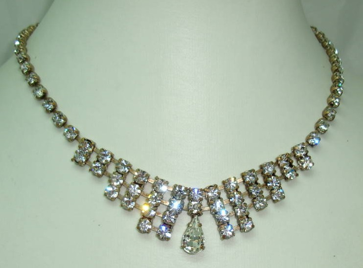Vintage 30s Art Deco Sparkling Paste Diamante Drop Necklace Quality!