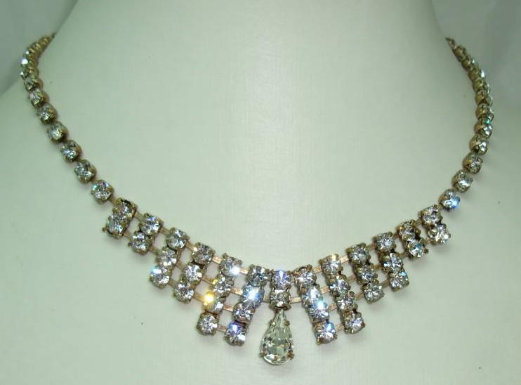£52.00 - Vintage 30s Art Deco Sparkling Paste Diamante Drop Necklace Quality!