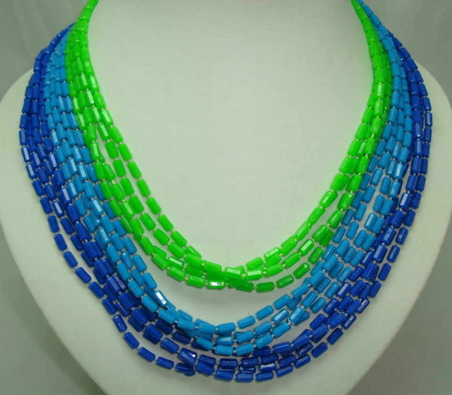 1950s Fab 12 Row Blue & Green Graduating Bead Necklace