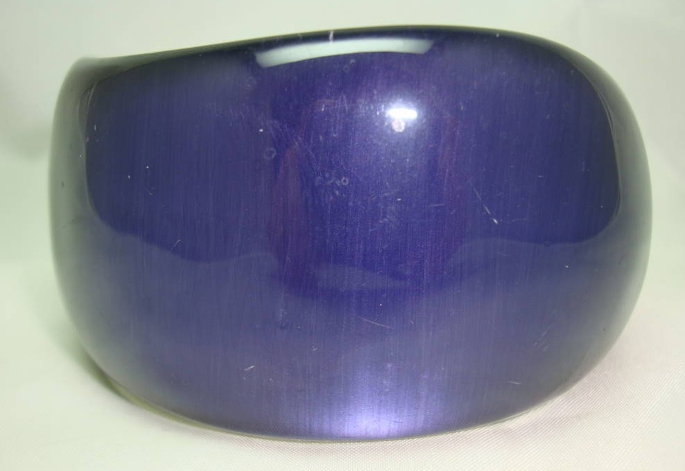 Fabulous Chunky Purple Blue Lucite Acrylic Moonglow  Wide Bangle