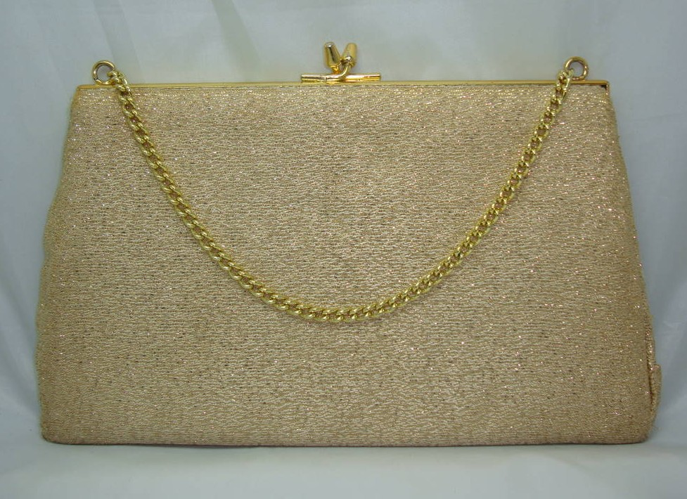 Vintage 50s Cute Gold Lame Sparkle Evening Handbag