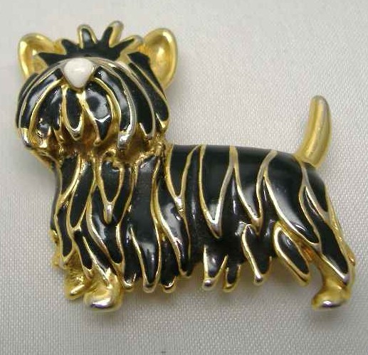 Vintage 80s Black Enamel Scottish Terrier Dog Brooch
